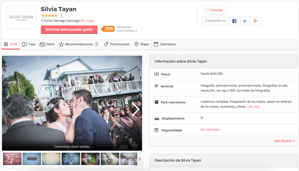 Fotógrafa colaboradora en matrimonios.cl